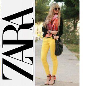 Zara Yellow/Mustard Skinny Jeans 4